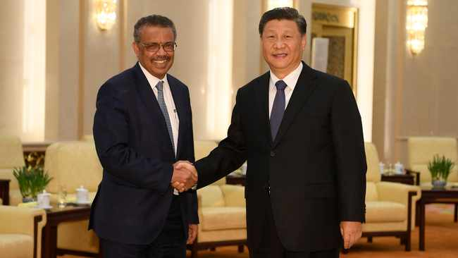 Tedros Adhanom Ghebreyesus, director general of the World Health Organization, left, shakes hands with Chinese President Xi Jinping before a meeting at the Great Hall of the People in Beijing. File picture: Naohiko Hatta/Pool Photo via AP